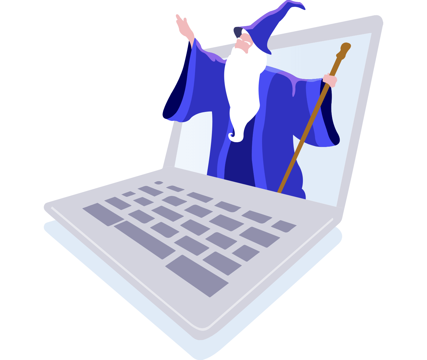 Wizard appearing out of laptop