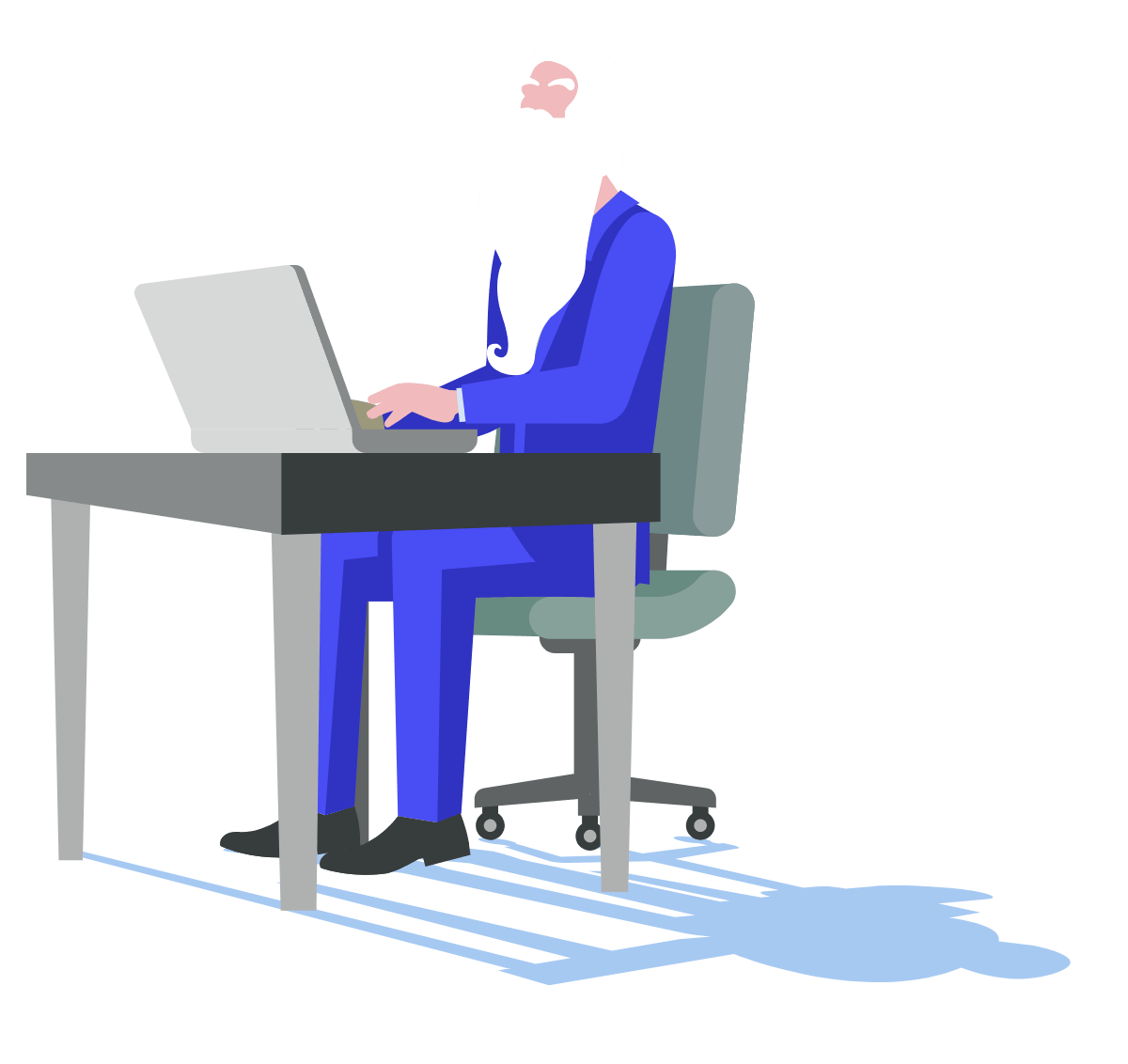 Wizard at computer