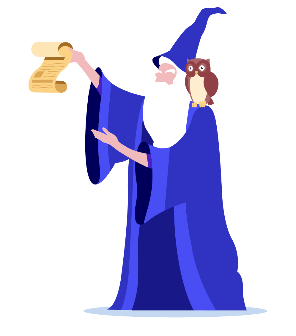 Wizard with scroll