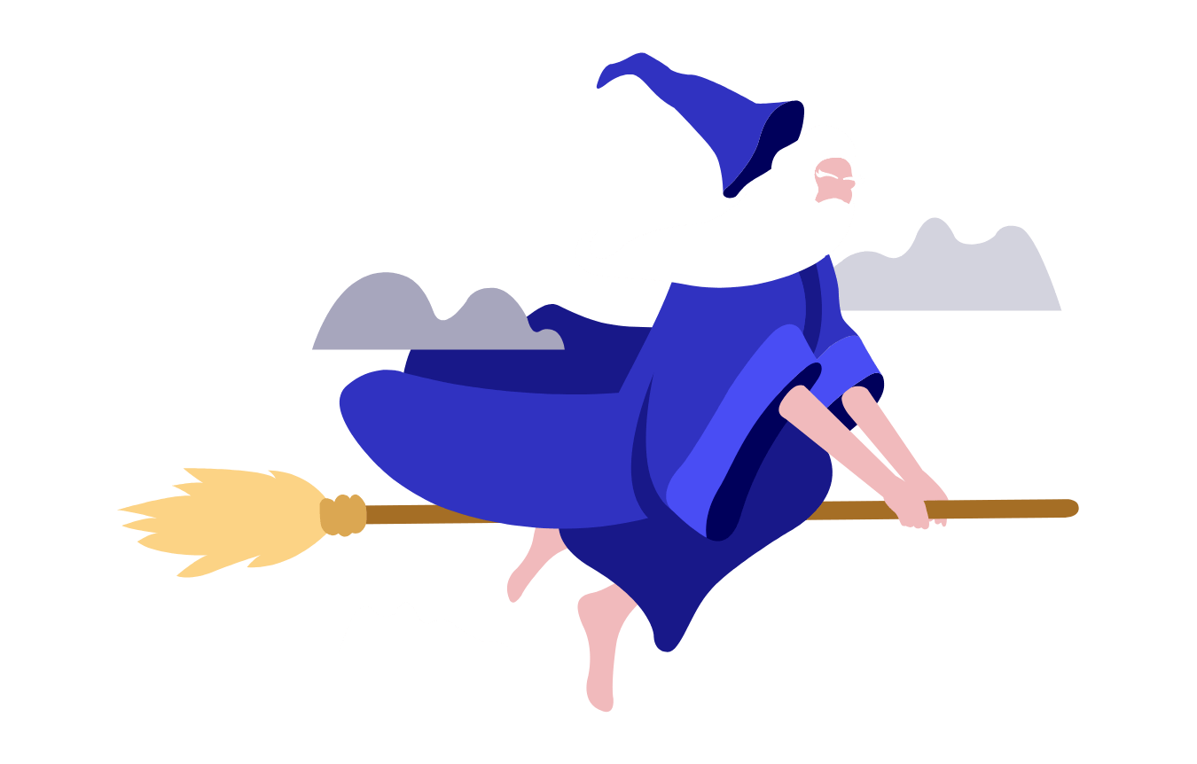 Wizard flying on broomstick