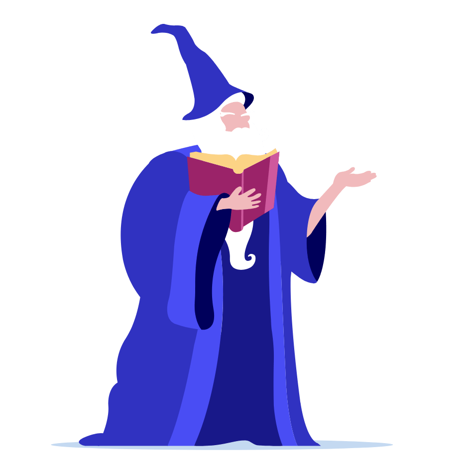 Wizard reading book