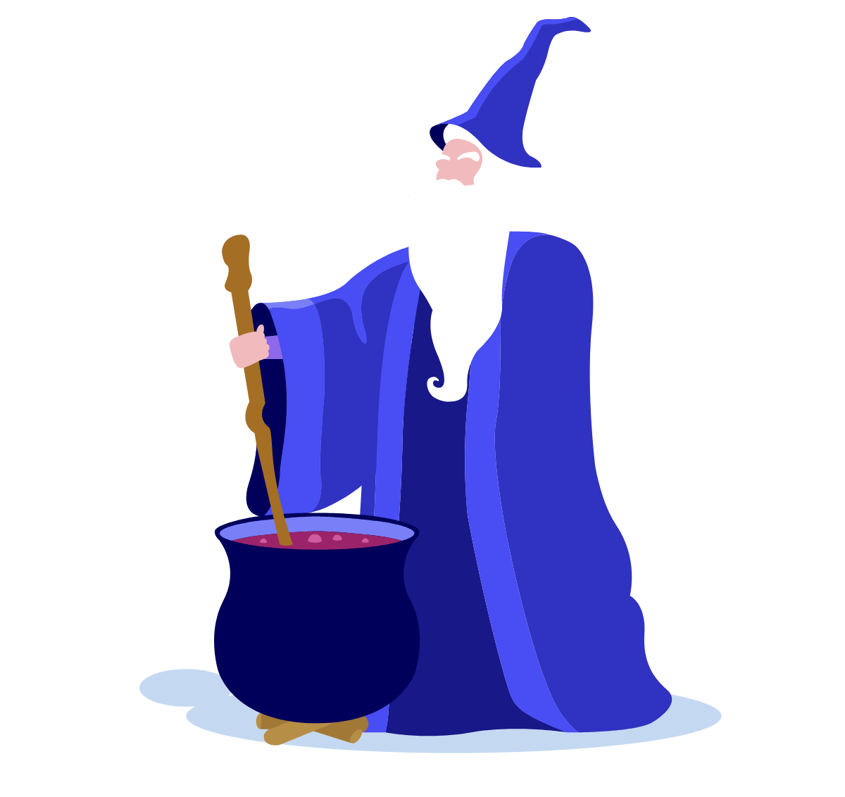 Wizard cooking up a spell in his cauldron