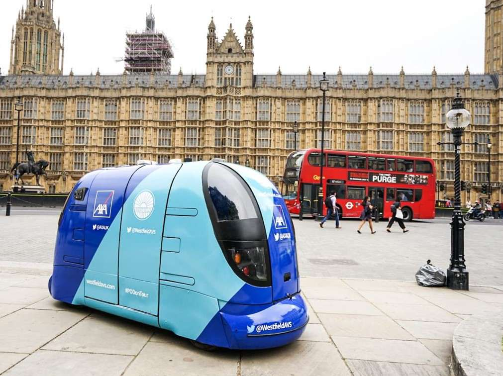 Driverless vehicle parked outside of Parliament