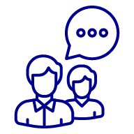 Icon of two people with a speech bubble above them