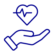 Icon of a hand with a heart and electrocardiogram