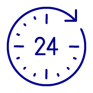 Icon of a clock with 24 hours displayed on the face