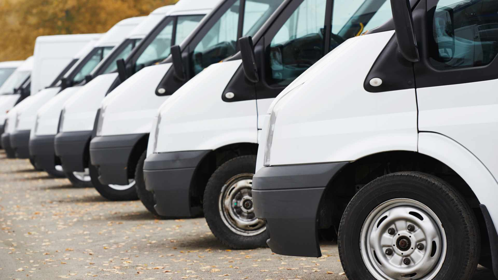 Commercial delivery vans in row at parking place