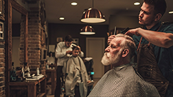 Man in barber's chair