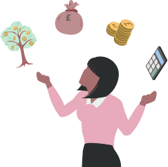 A woman juggles a money tree, a bag of coins, a pile of coins and a calculator.