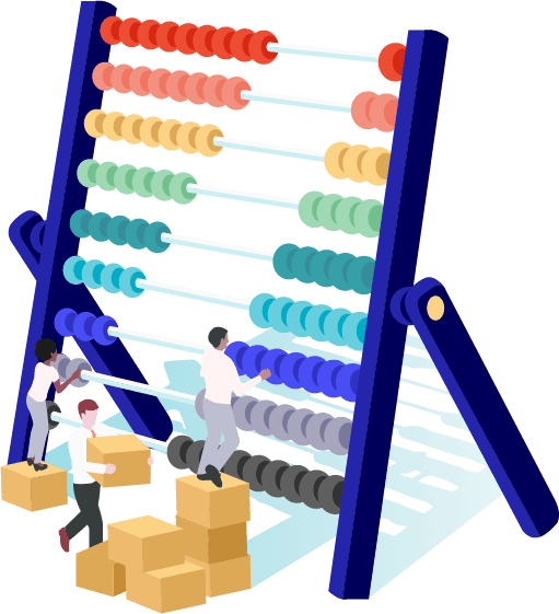 Men and women moving an abacus around