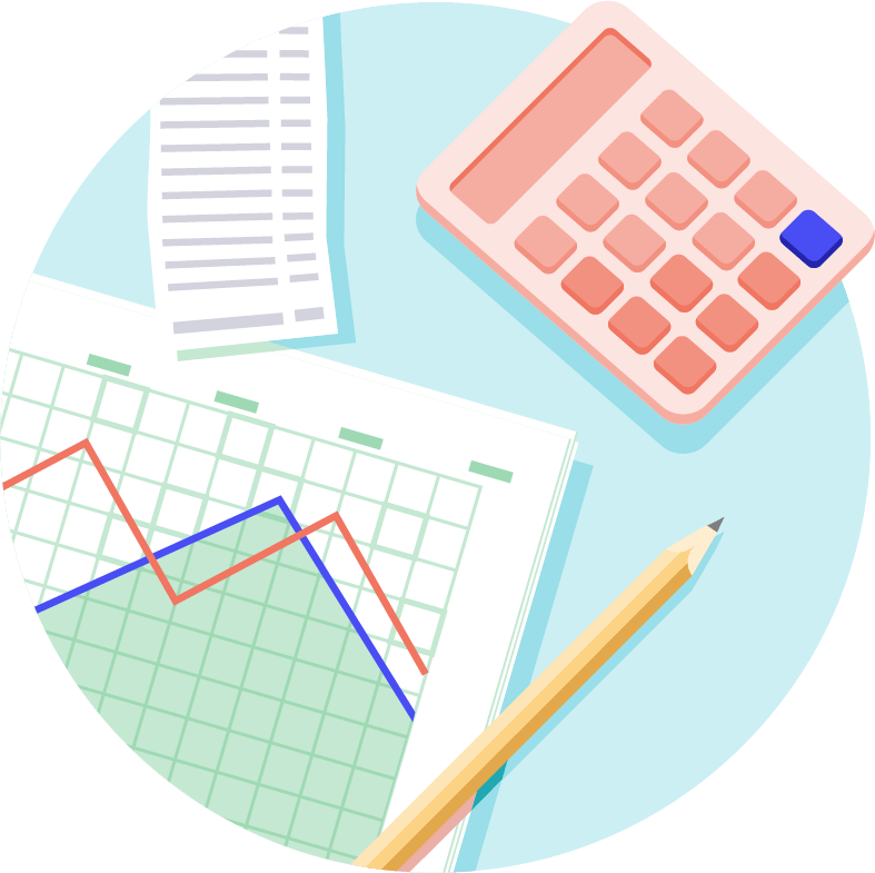 Desktop showing calculator, line-graph and pencil from above