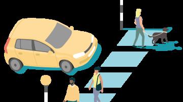 Car by zebra crossing