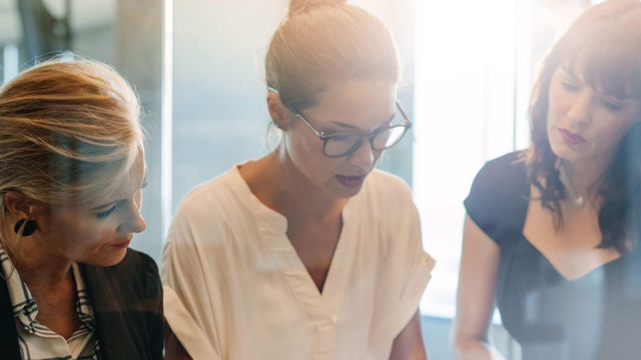 Three businesswomen in an office
