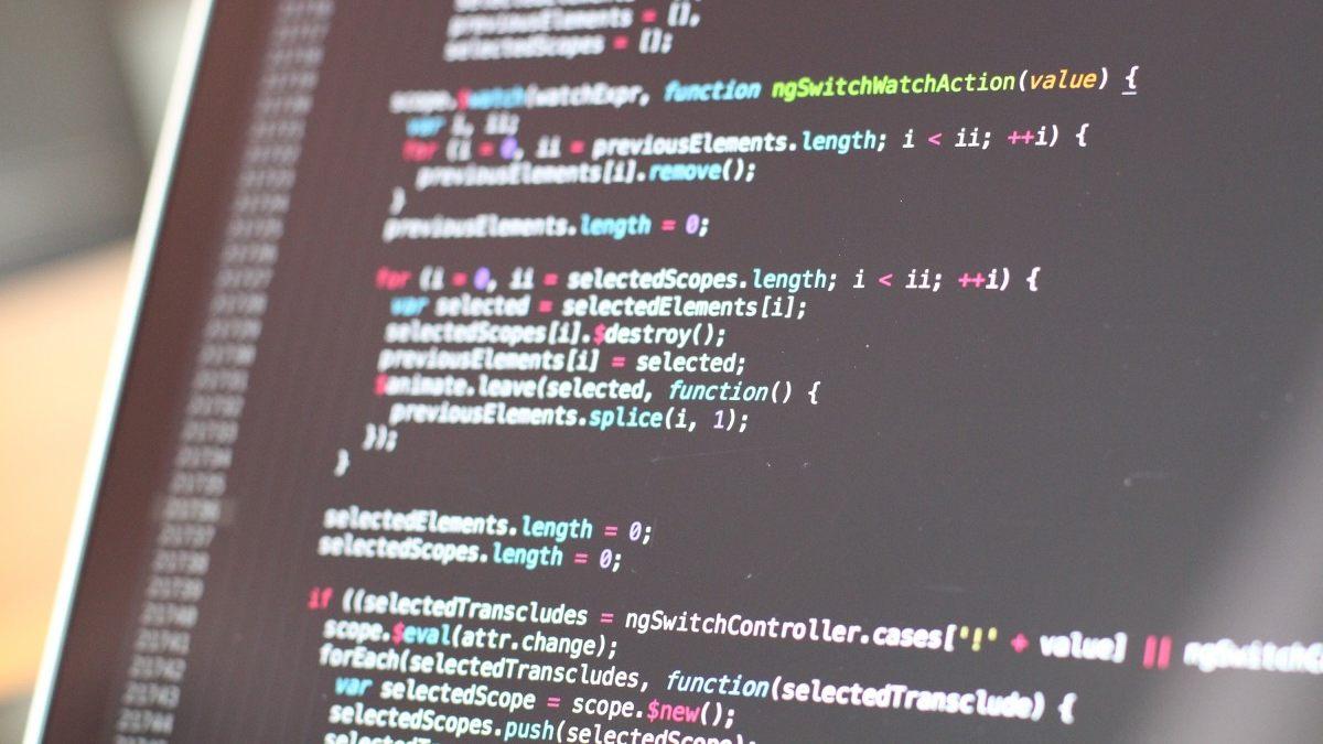 Computer code on screen