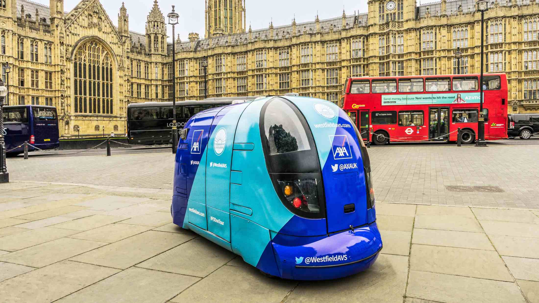 Driverless car outside Houses of Parliament