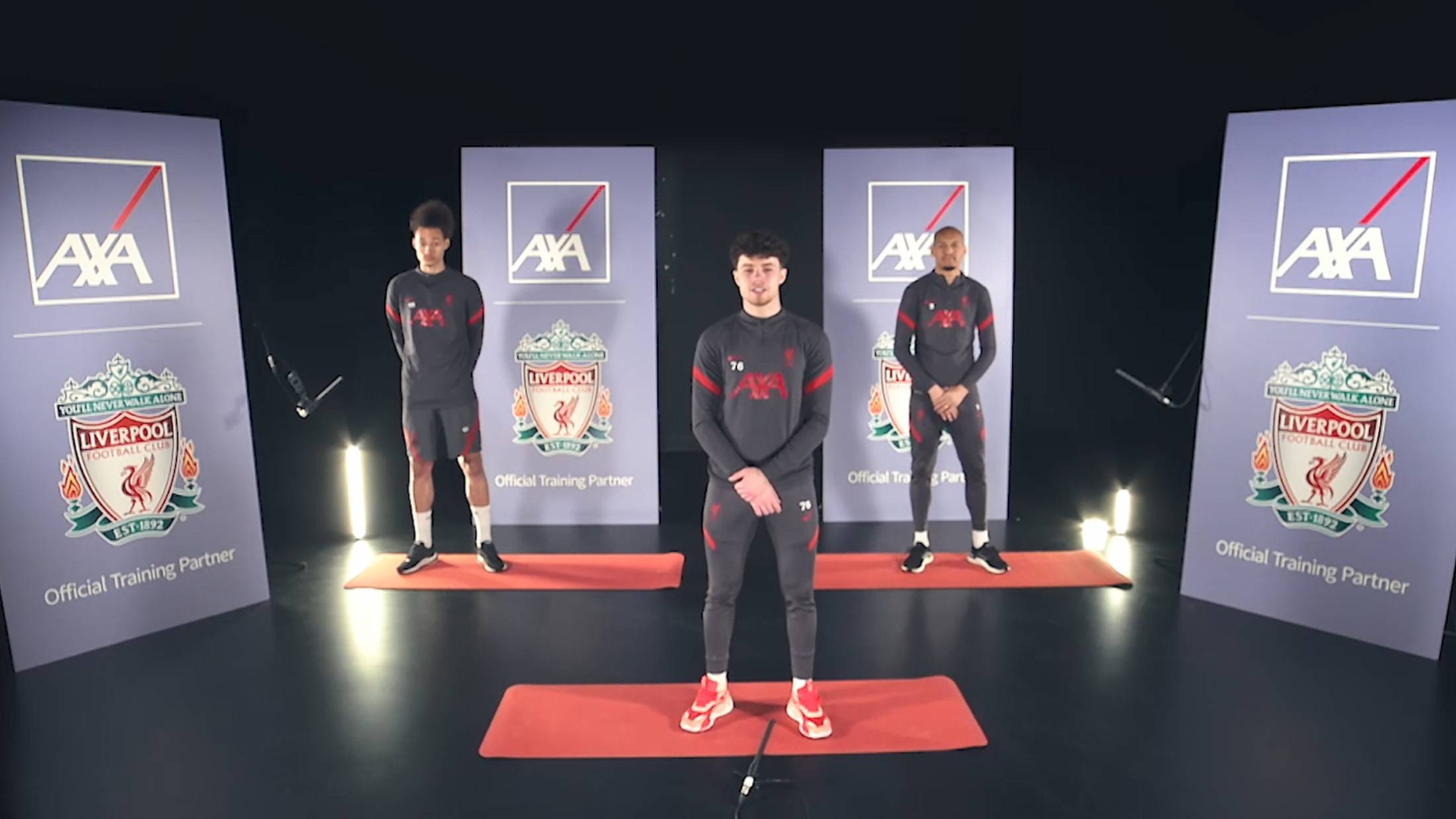 Players from Liverpool Football Club lead the LFC Challenge from studio with yoga mats on floor